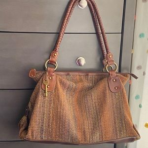 fossil vintage woven tote bag